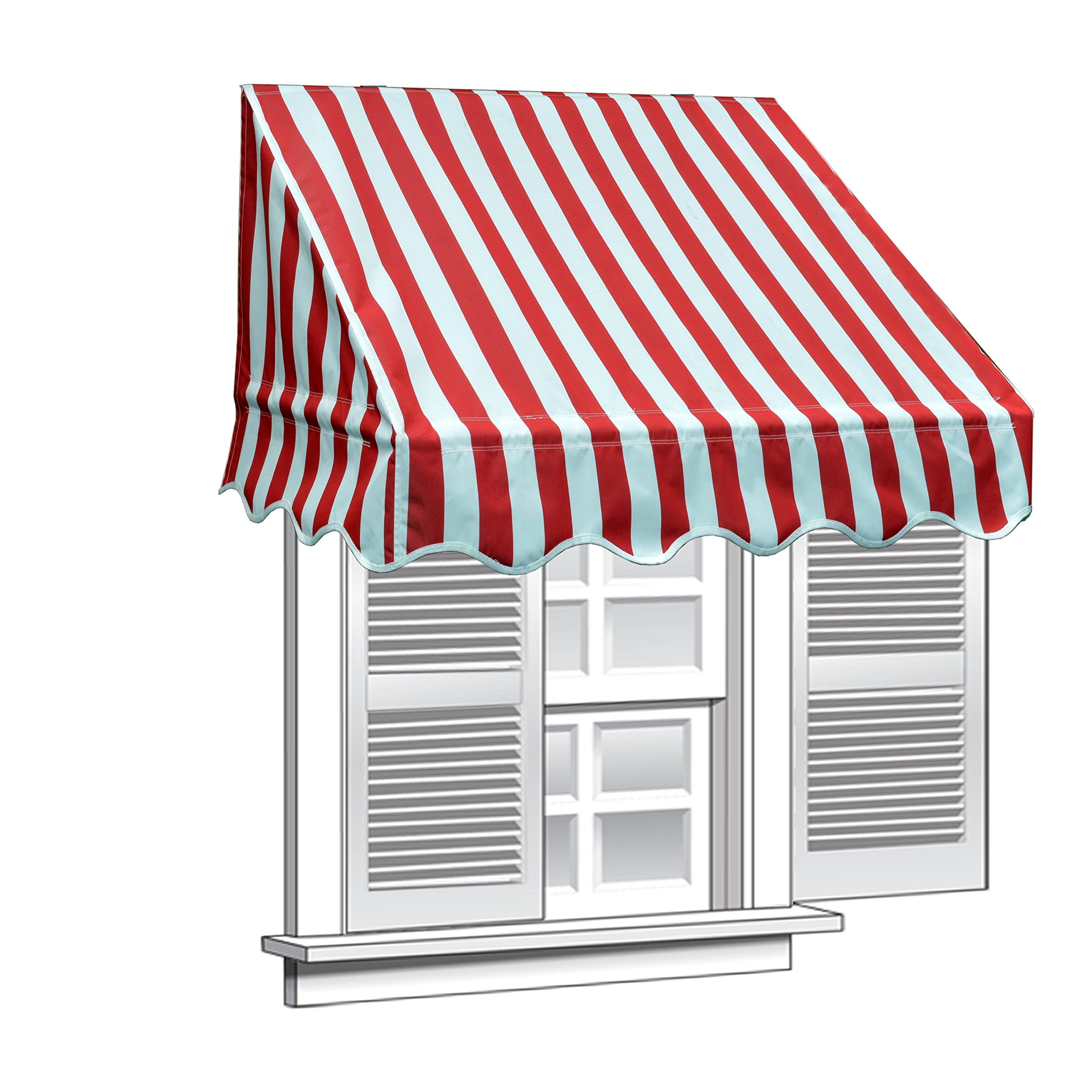 ALEKO WAW6X2MSTRRE19 Window Canopy Awning 6 x 2 Feet Multi-Stripe Red