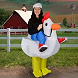GiggleBeaver Inflatable Chicken Halloween Fancy Dress Blow Up Party Cosplay Costume Funny Novelty