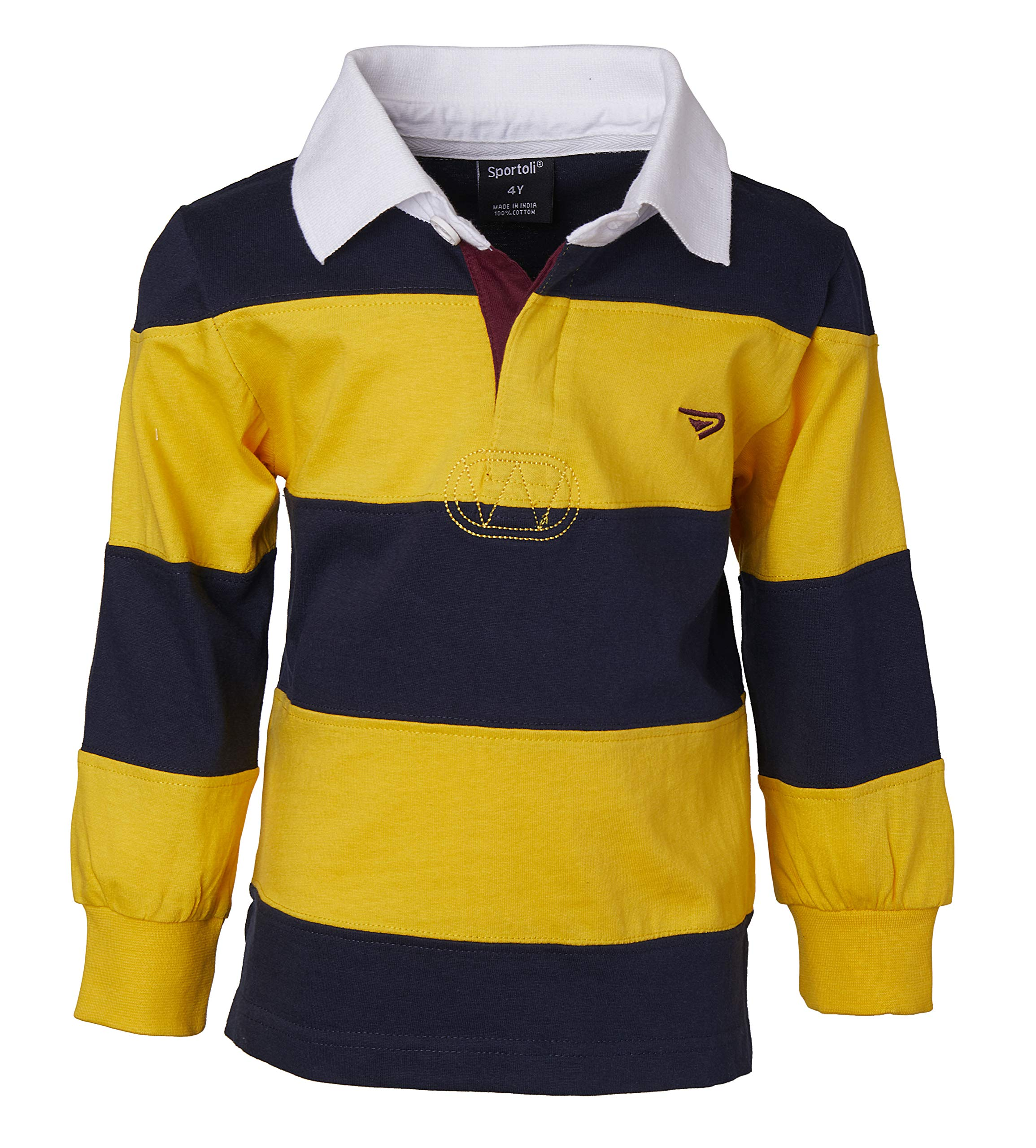Sportoli Little Boys 100% Cotton Wide Striped Long Sleeve Polo Rugby Shirt - Gold (Size 3)