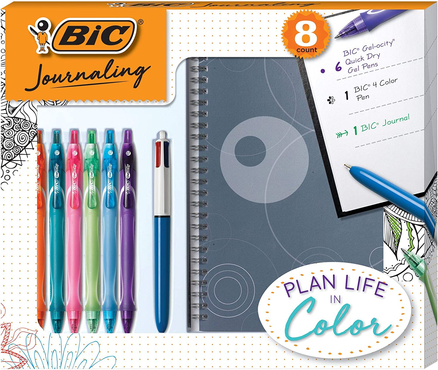 Gel Pens//Ballpoint Pen//Journal 8-Count BIC Journaling Kit Assorted Colors