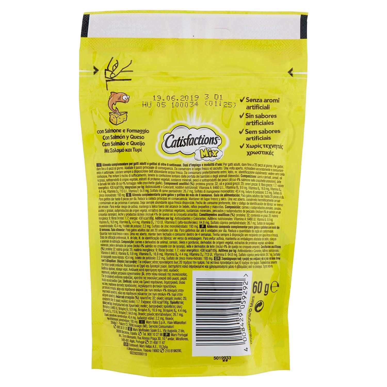 Premios para gatos sabor Mixto de queso y salmón 60g | [Pack de 6]: Amazon.es: Productos para mascotas