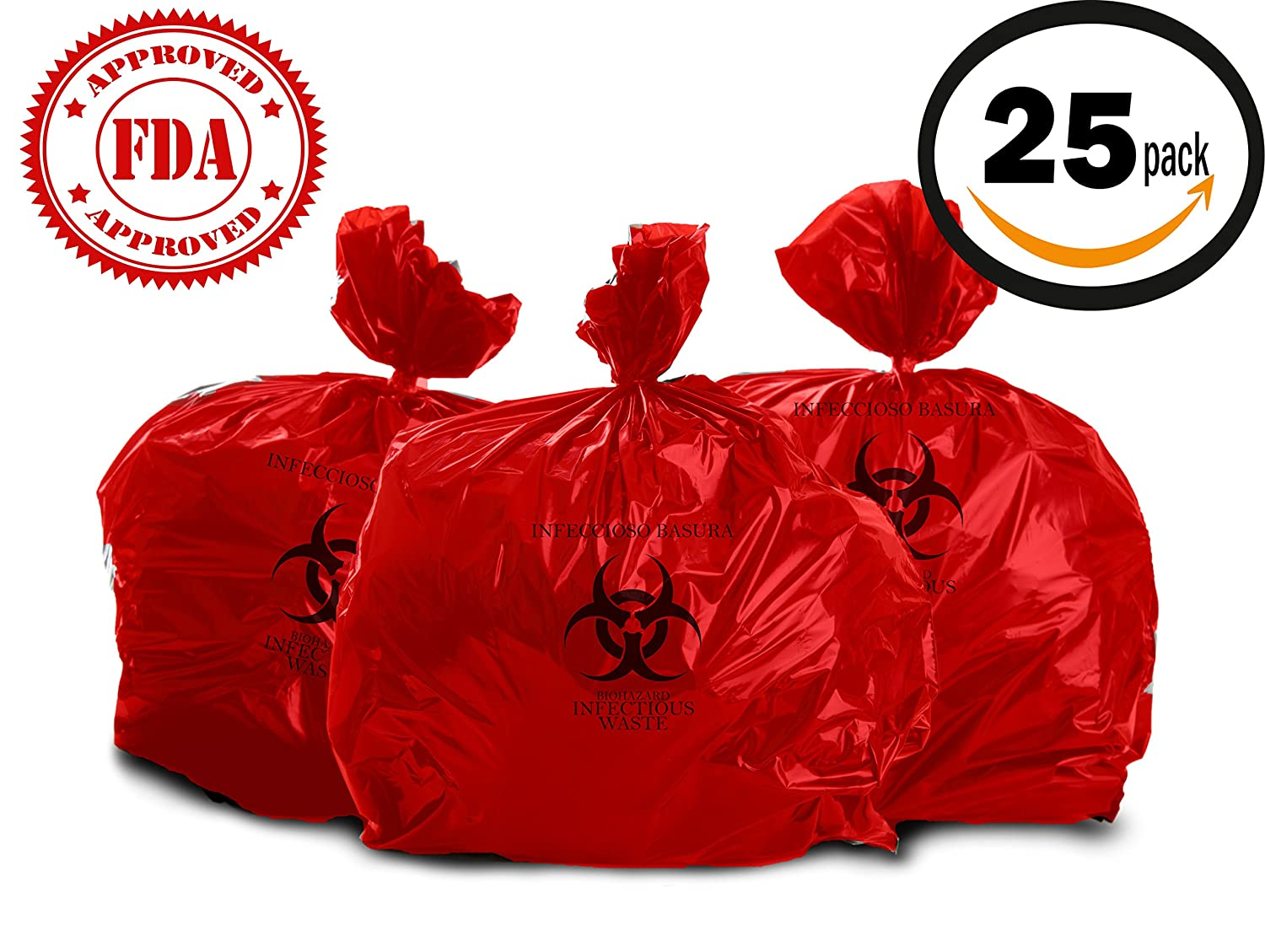 Oakridge Heavy Duty 10 Gallon Biohazard Waste Bags (Roll of 25) - Hospital Grade