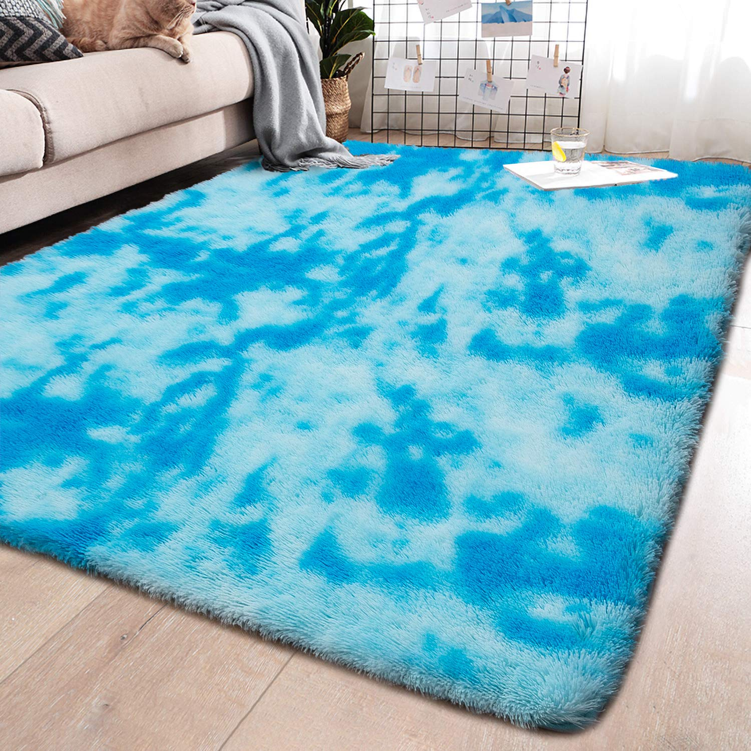 YJ.GWL Soft Indoor Large Modern Area Rugs Shaggy Fluffy Carpets Suitable for Living Room and Bedroom Nursery Rugs Abstract Accent Home Decor Rugs for Girls and Kids 5x8 Feet Blue