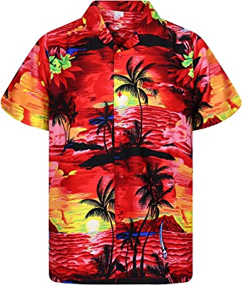v.h.o. Funky Hawaiian camisa para hombre manga corta front-pocket Surf Playa Rojo: Amazon.es: Ropa y accesorios