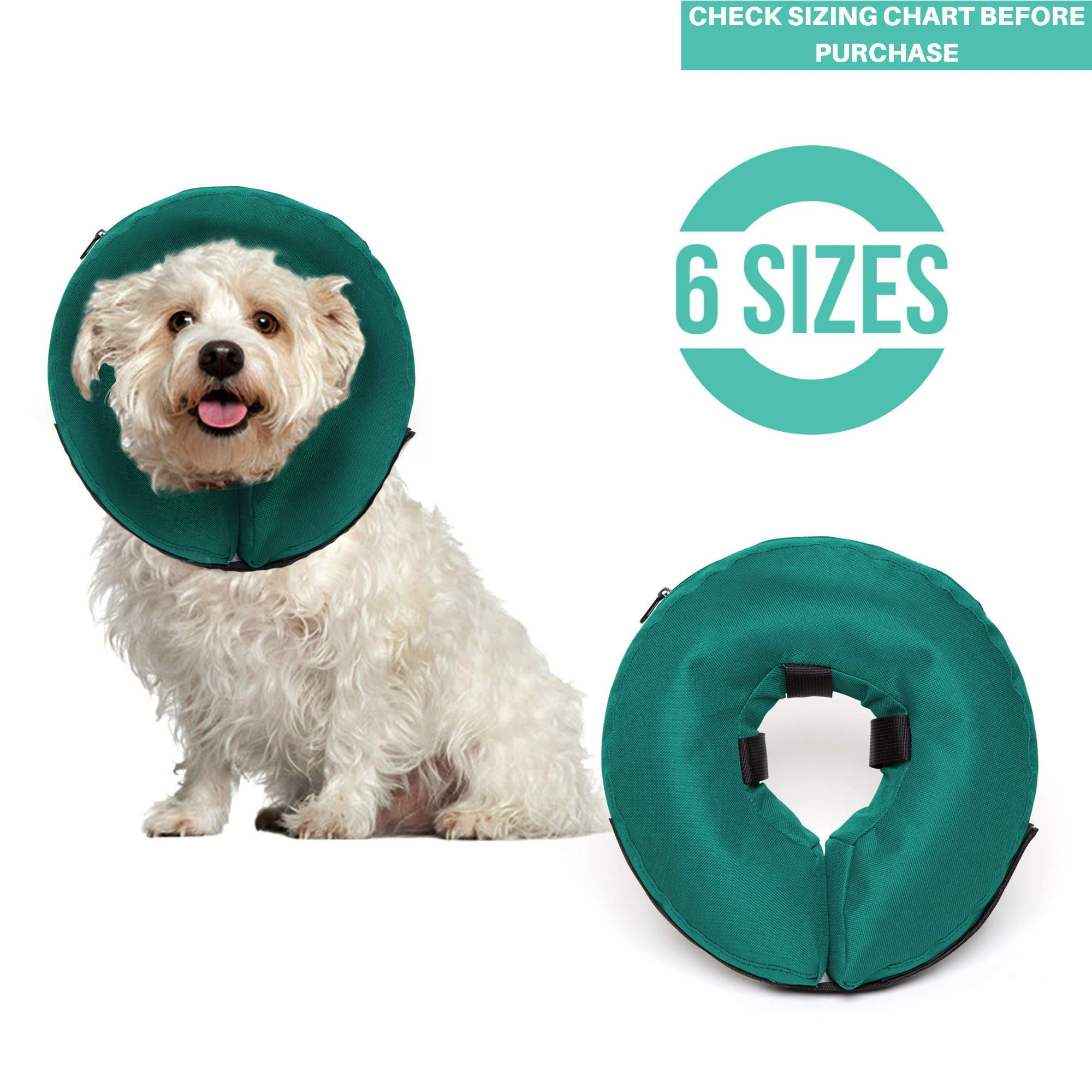 ProCollar Protective Inflatable Recovery Collar for Dogs and Cats - Soft Pet Cone Does Not Block Vision E-Collar - Designed to Prevent Pets from Touching Stitches, Wounds and Rashes (Small) by ProCollar