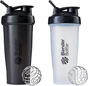BlenderBottle Classic Loop Top Shaker Bottle, 28-Ounce 2-Pack, All Black and Clear/Black