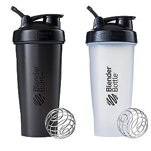 Blender Bottle Classic Loop Top Shaker Bottle, 28-Ounce 2-Pack, All Black and Clear/Black