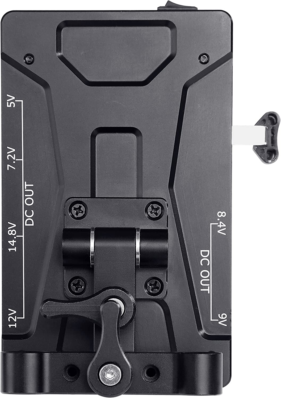 Movo RBS1 Vマウントバッテリープレート 15mmロッドマウント& 5V、7.2V、8.4V、9V、12V、14.8V、LP-E6電源出力 デジタル一眼レフカメラ、ビデオカメラ、モニター、マイクなど用