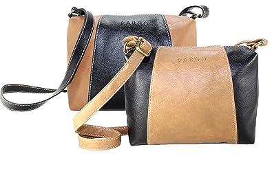 c8d09fd21b5 Fargo Motley PU Leather Women's Girl's Sling Bag Combo Of 2 (Black ,Beige_FGO-