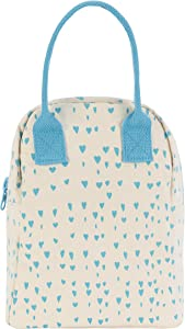 Fluf Zipper Lunch Bag | Reusable Canvas Lunch Box for Women, Men, Kids | Organic Cotton Meal Tote | (Blue Hearts)