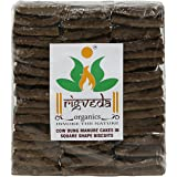 RIGVEDA Organics Cow Dung Cake Gobar Upla for Hawan Puja in Square Shape Biscuits (Brown)- 50 Pieces