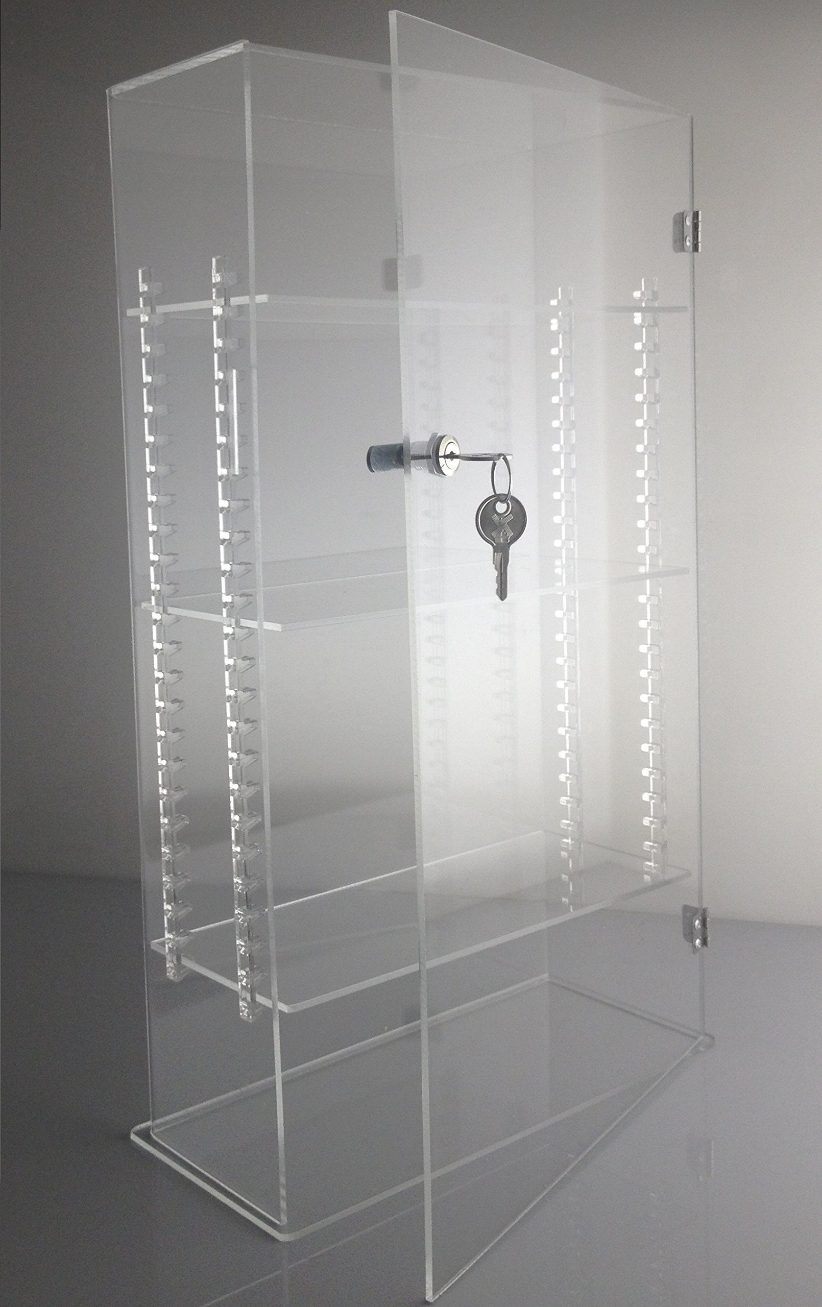 T'z Tagz Brand Acrylic Lucite Showcase with ADJUSTABLE SHELVES Jewelry Pastry Bakery Counter Display W/door & Lock (10'' X 4'' X 18.25''h)