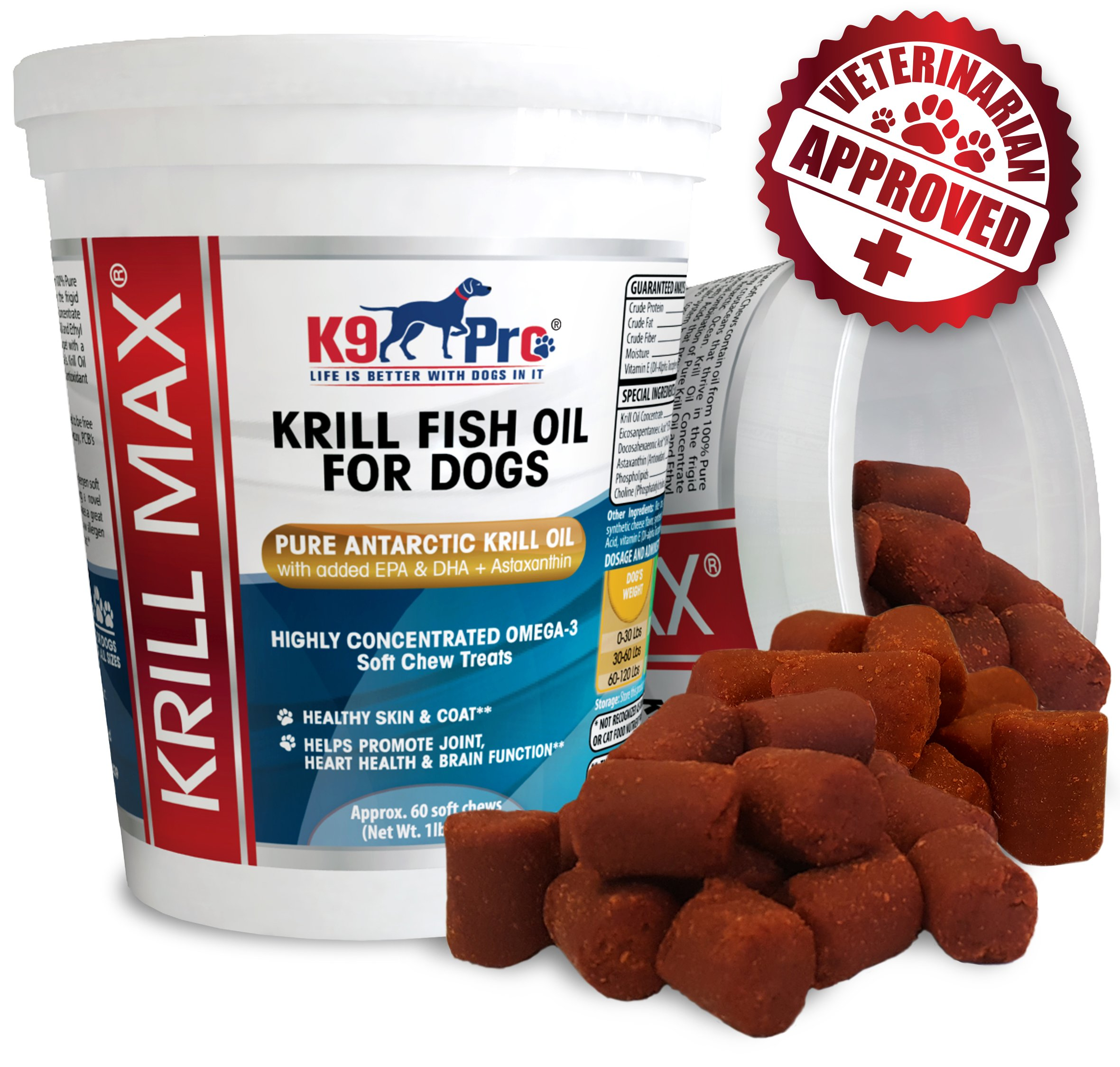 Krill MAX Fish Oil for Dogs - Soft Moist Tasty Chews 350mg Omega 3 Best Dog Joint Supplement with DHA EPA (Full 2 Month Supply) Plus Astaxanthin and Vitamin E - for Hip Joints Skin and Coat by K9 Pro