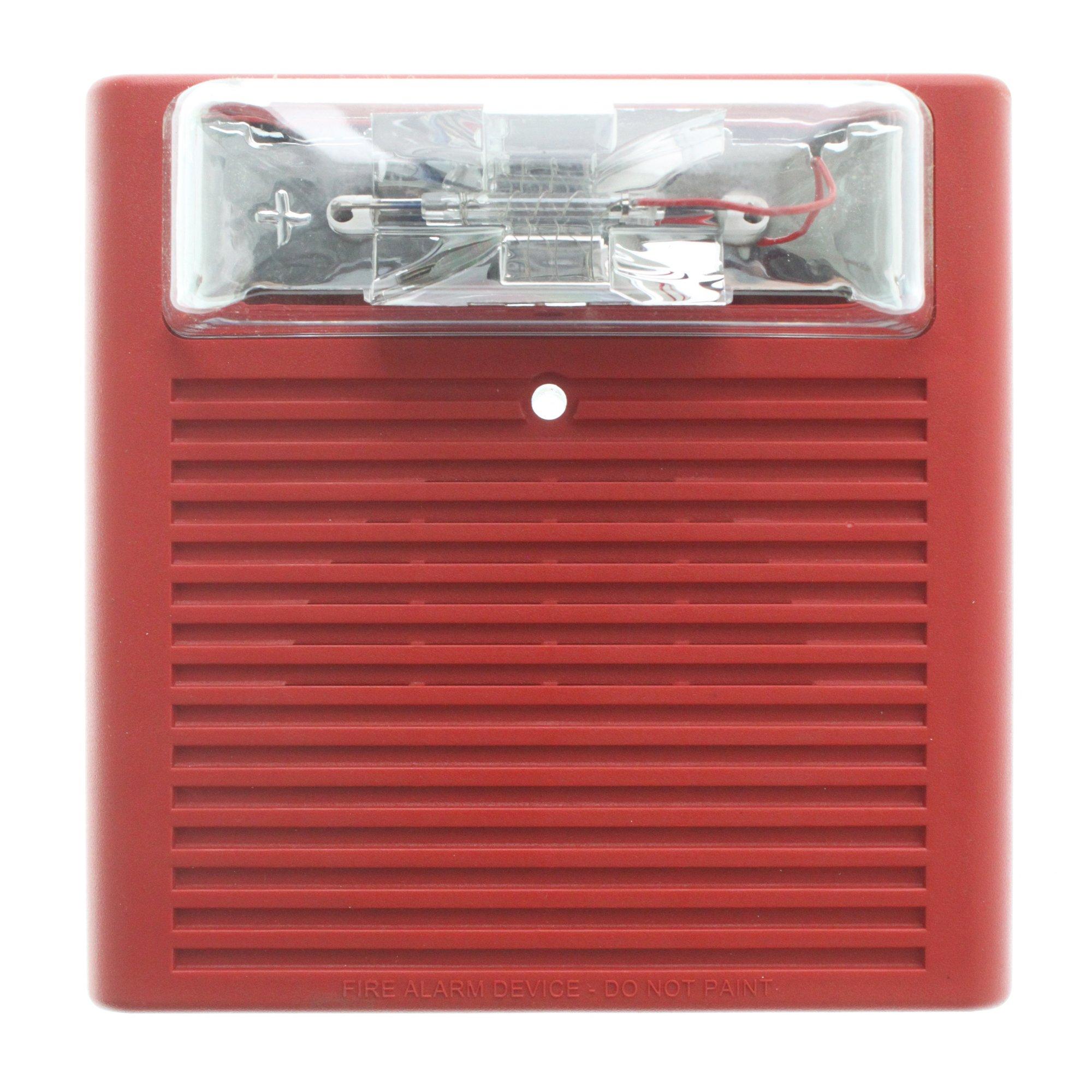 Wheelock AS-24MCW-FR 129024 Audible Strobe, Multi-Candela, Wall Mt, 24-Vdc, Red