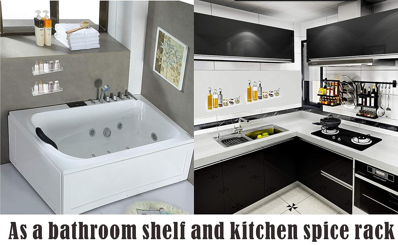 Hoomtaook super power vacuum suction bathroom shelf no drill storage rack removable reusable kitchen sink sponge