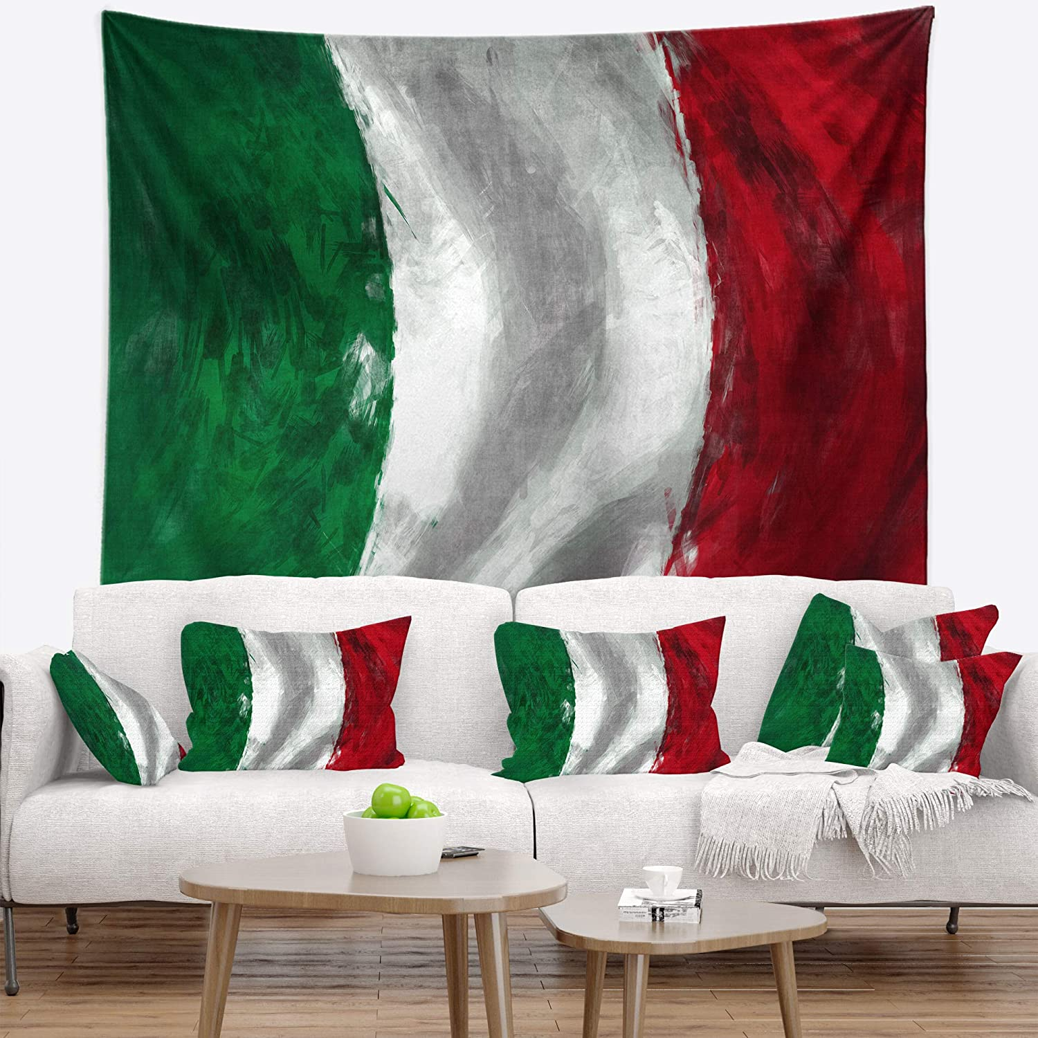 Created On Lightweight Polyester Fabric 39 in Designart TAP6726-39-32  Italy Flag Contemporary Blanket D/écor Art for Home and Office Wall Tapestry Medium x 32 in