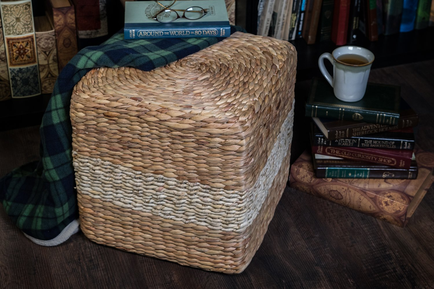 MagJo Natural Woven Sea Grass Poufs- 16 X 16 (Hutton