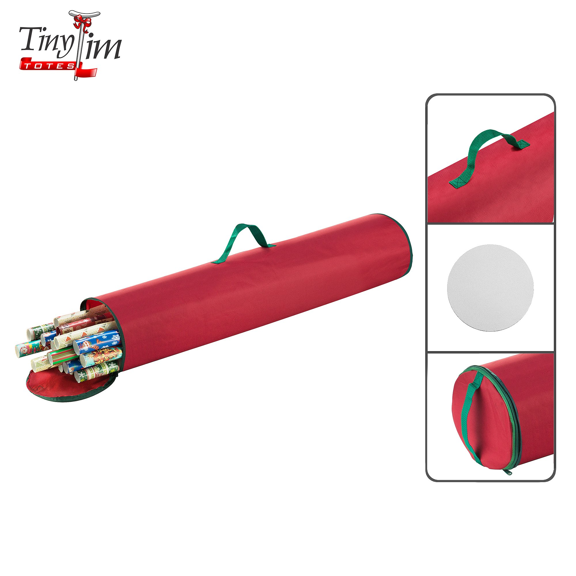 Tiny Tim Totes 5094 Canvas Premium Gift Organizer | 40.5 inch Wrapping Paper | Red, Twin by Tiny Tim Totes