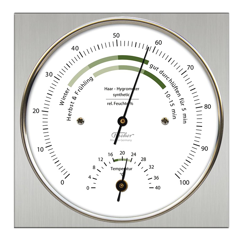 Fischer Raumklima Hygrometer mit Thermometer, Edelstahl Fischer_1220-01 264486
