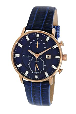 Kenneth Cole New York Womens KC2756 Dress Sport Blue Dial Rose Gold Case Multi-Function
