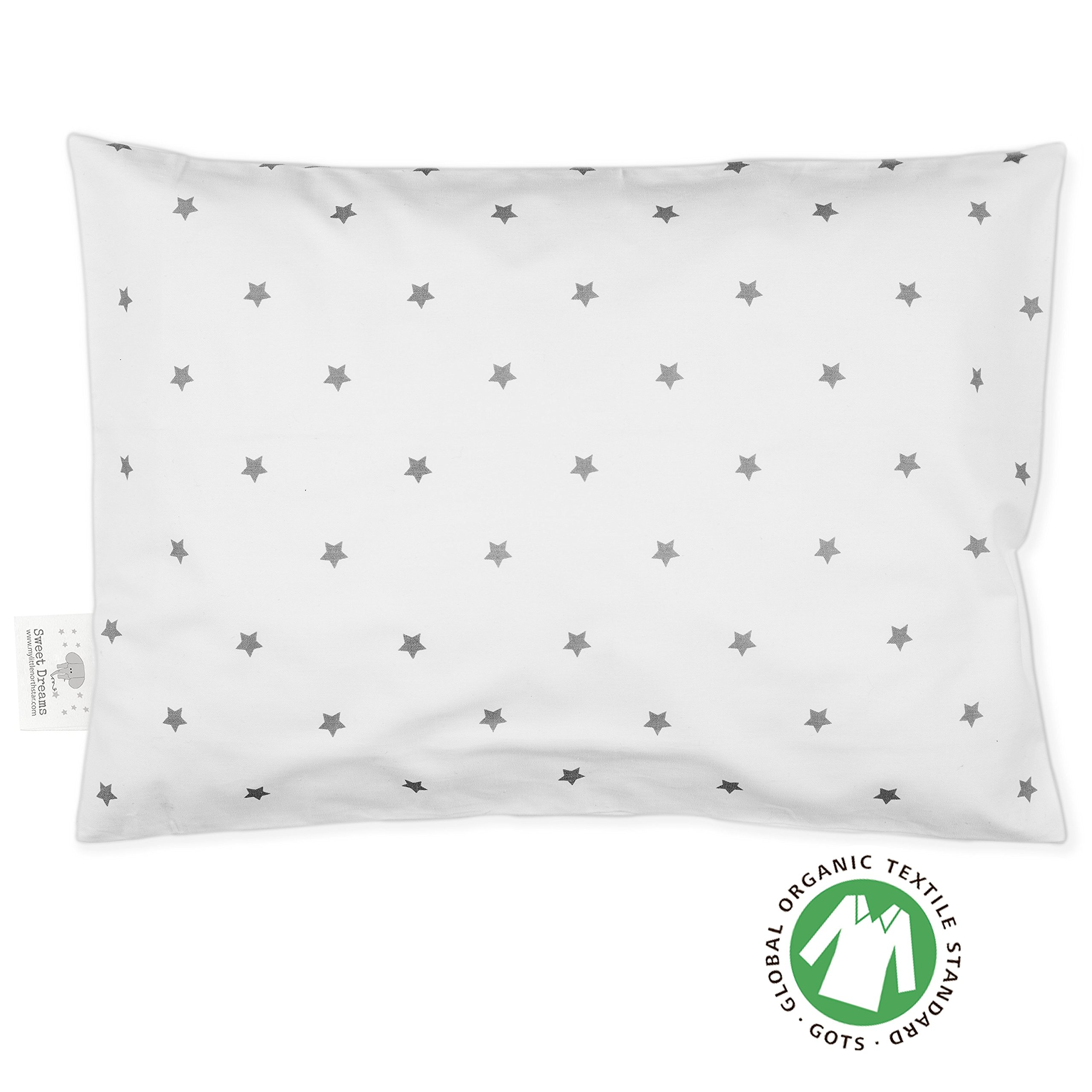 Toddler Pillowcase - 100% GOTS Certified Organic Cotton - Hypoallergenic Safe and Comfortable - No Harsh Chemicals on Your Toddler's Skin - White and Grey Stars