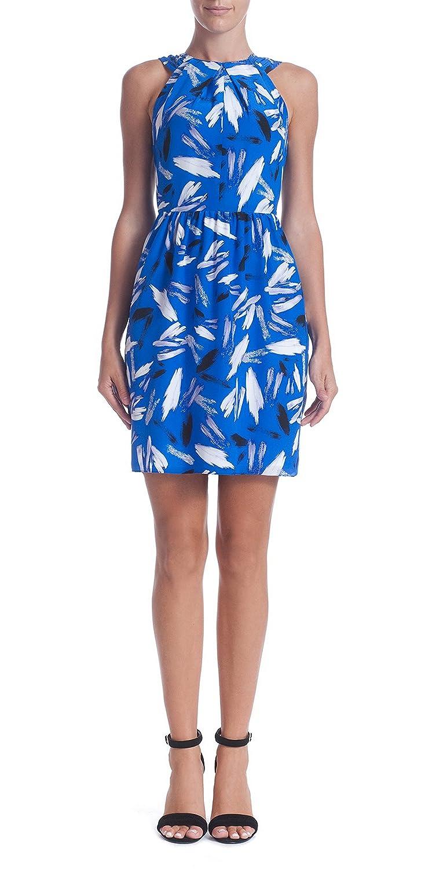 SHOSHANNA Womens ADRIANNA Brush Strokes Print Silk Dress Sz 4 Blue/White 200560E