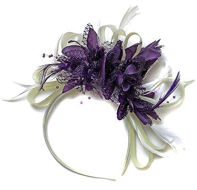 b43ee4db6b9da Ivory Cream and Dark Purple Fascinator Headband Net Hoop Feather Hair  Wedding Royal Ascot Races  Amazon.co.uk  Clothing