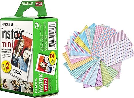 Nishow Fujifilm Instax Mini Instant Film 2 Pack=20 Hojas (Blanco) Compatible con Fujifilm Instax Mini 9 Cámara instantánea y Fujifilm Instax Mini 8 + 20 Marcos de calcomanías: Amazon.es: Electrónica