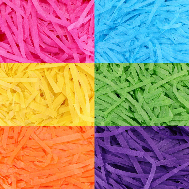 Papier Zhehao 12 Pi/èces Remplisseur dherbe de P/âques Remplissage Multicolore dherbe de Panier de Cadeau pour Fournitures de F/ête D/écoration d/'Artisanat de Cadeau