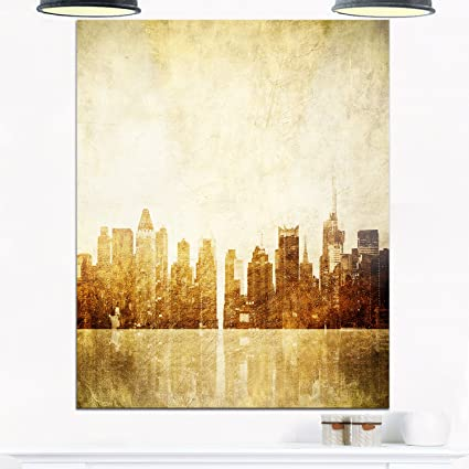 Amazon.com: Designart MT9879-12-20 New York Skyline Grunge View ...