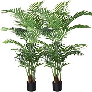 Fopamtri Artificial Areca Palm Plant 5 Feet Fake Palm Tree with 17 Trunks Faux Tree for Indoor Outdoor Modern Decoration Feaux Dypsis Lutescens Plants in Pot for Home Office Housewarming Gift