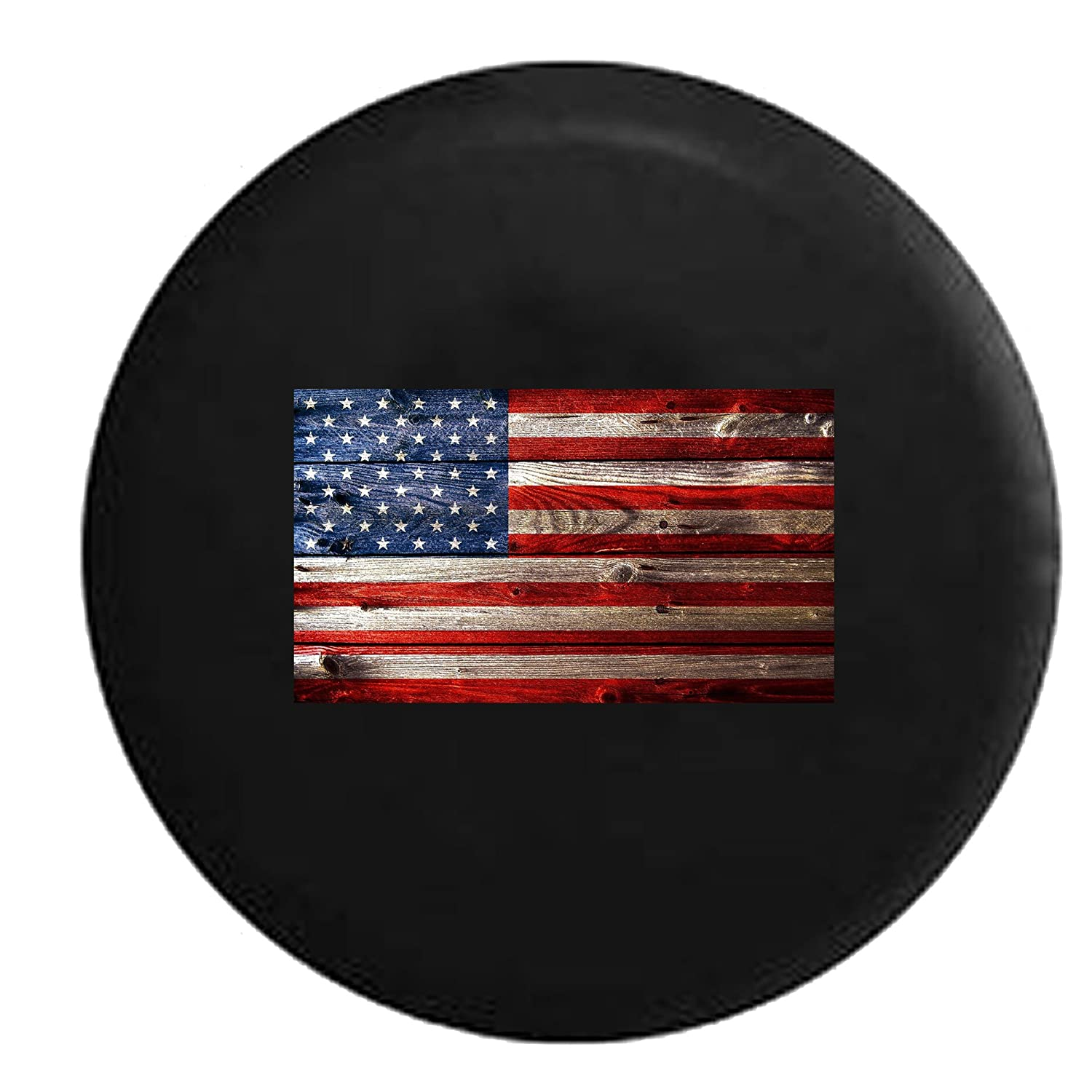 Wooden American Flag Rustic Vintage Jeep RV Spare Tire Cover Black 32 in 556 Gear