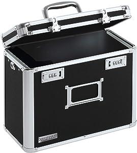 Vaultz Locking Personal File Organizer Tote Box, Letter Size, Black (VZ01187)