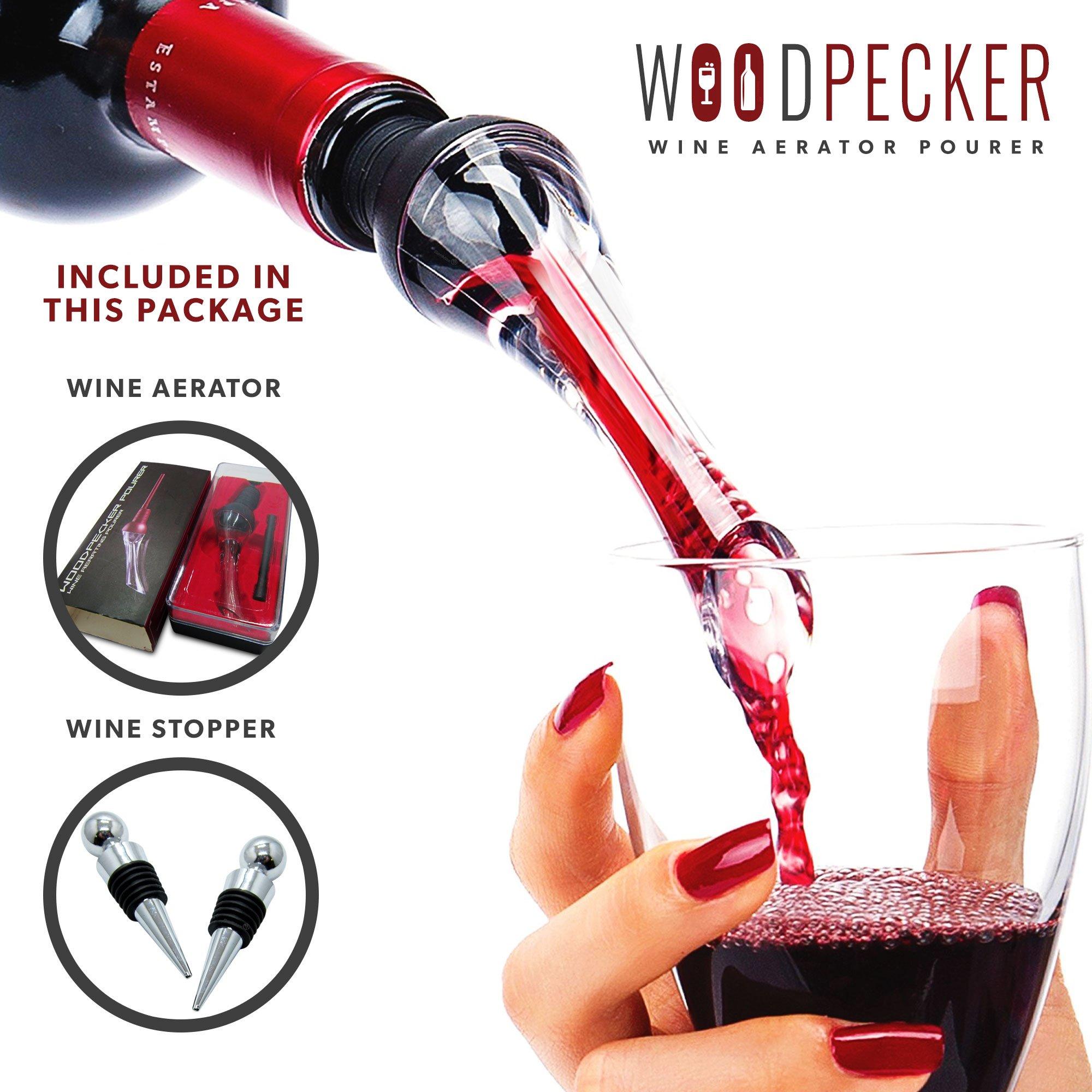 GenMax Aerating Wine Pourer - In Bottle Wine Aerator & Decanter - Ergonomic Spout Tip - Larger Chamber For Better Aeration - Better Tasting Wine - Easy To Clean Liquor Pourer - Wine Stopper Included!