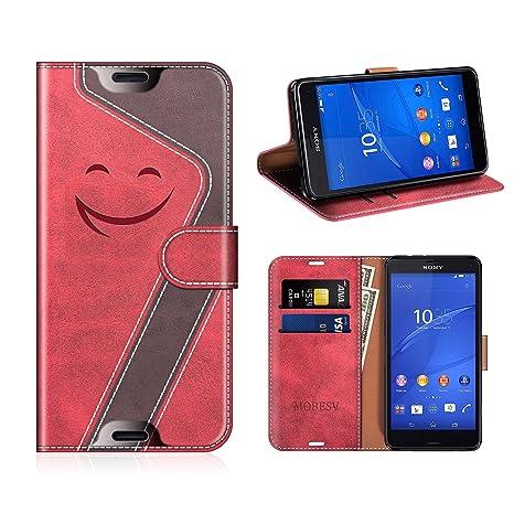 Mobesv Smiley Funda de Piel/Carcasa Wallet para Sony Xperia Z3 Compact, Rojo/Violeta Oscuro