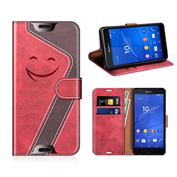 MOBESV Smiley Sony Xperia Z3 Compact Hülle Leder, Sony Xperia Z3 Compact Tasche Lederhülle/Wallet Case/Ledertasche Handyhülle