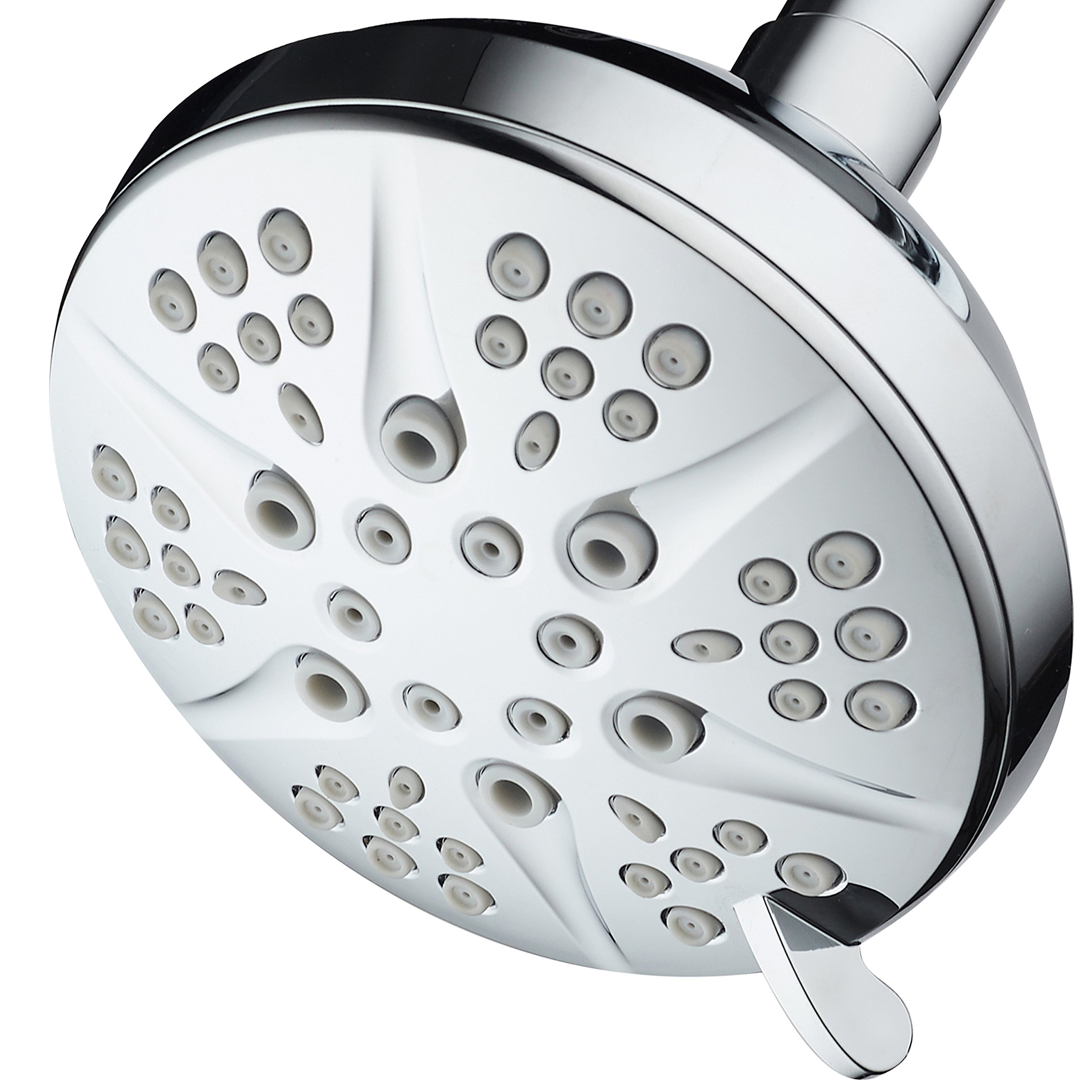 HotelSpa NOTILUS Giant High-Pressure 6-setting 4.3'' Face Modern Luxury Spa Shower Head - Solid Brass Metal Connection Nut, Angle-Adjustable Ball Joint, Anti-Clog Jets, All-Chrome Finish,
