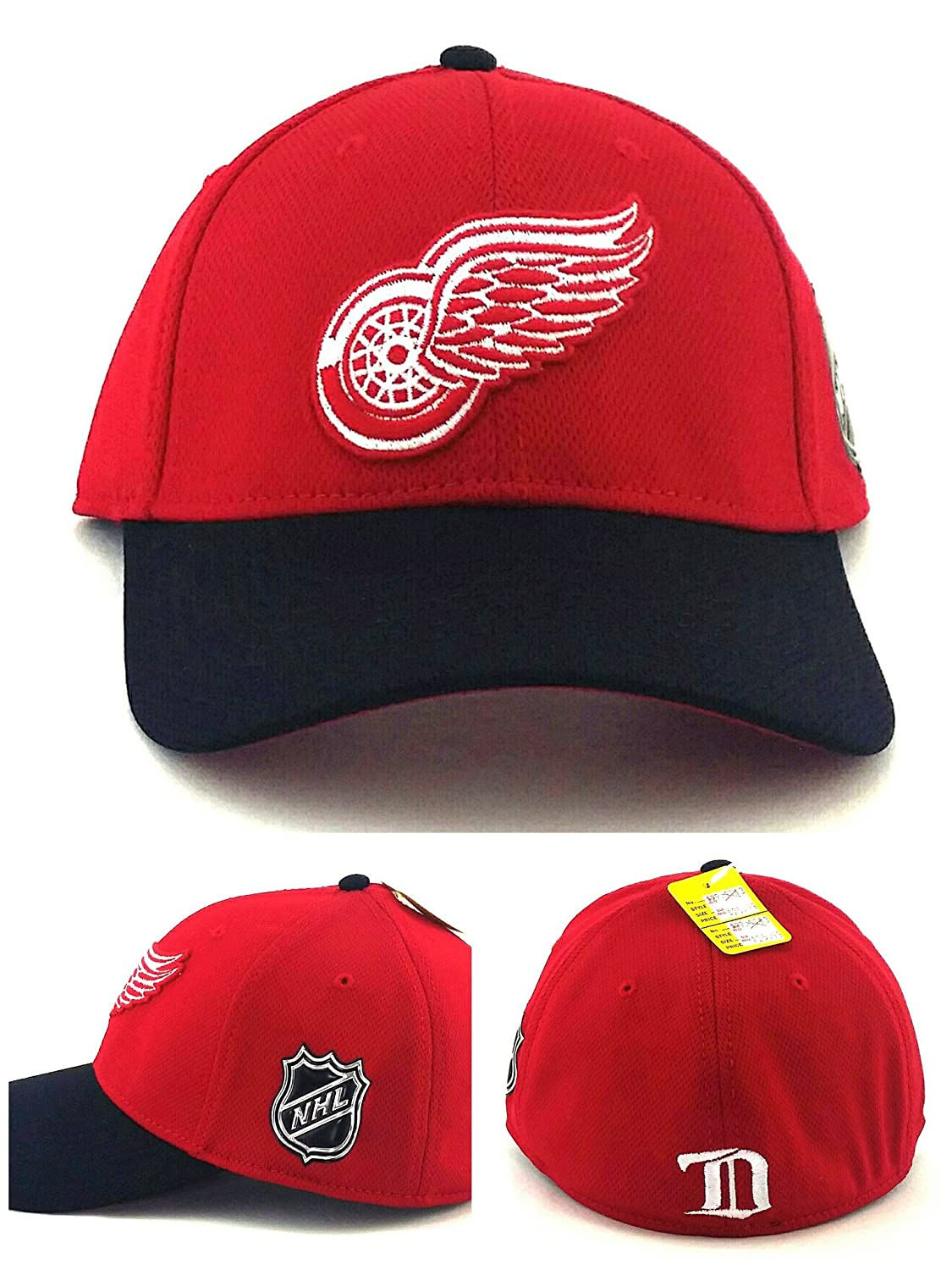34f32ad6d5b34 Amazon.com   American Needle Detroit Red Wings New Red Black Dri Tech  Stretch Era Flex Fitted Hat Cap Large L   Sports   Outdoors