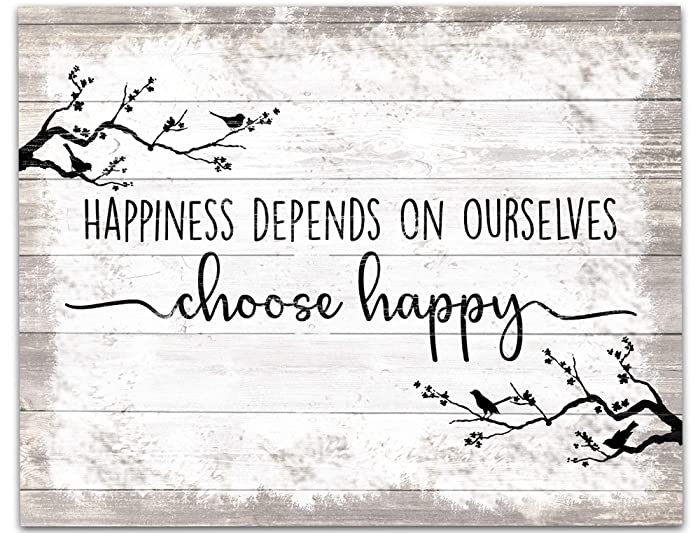 "Choose Happy Wall Art 14""x11"" Wood Effect Unframed Print. Counselling Coaching Room, Office, Classroom, Library or Home Décor. Housewarming Gift"
