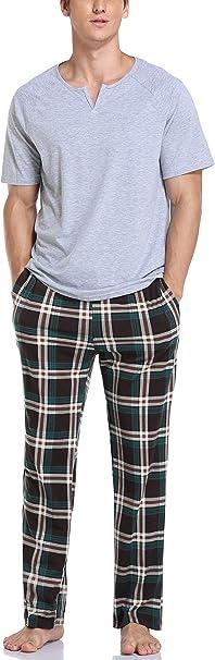 Vlazom Conjunto de Pijamas para Hombres Ropa de Dormir de Verano de algodón Tops y Pantalones Cortos de Manga Corta Ropa de Salón: Amazon.es: Ropa y accesorios
