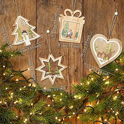 3D Wooden Christmas Hanging Tree Decoration Craft Set of 3 Tree Star Heart Blank