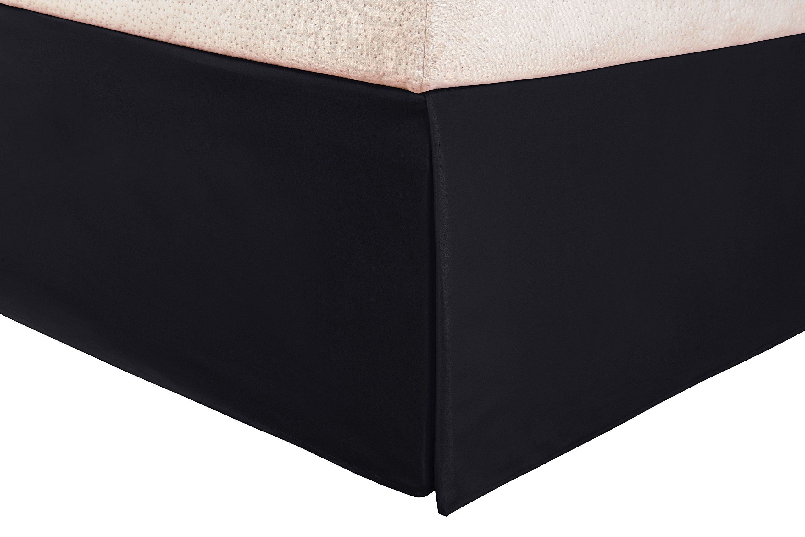 SRP Bedding Real 350 Thread Count Split Corner Bed Skirt/Dust Ruffle Queen Size Solid Black 16'' inches Drop Egyptian Cotton Quality Wrinkle & Fade Resistant