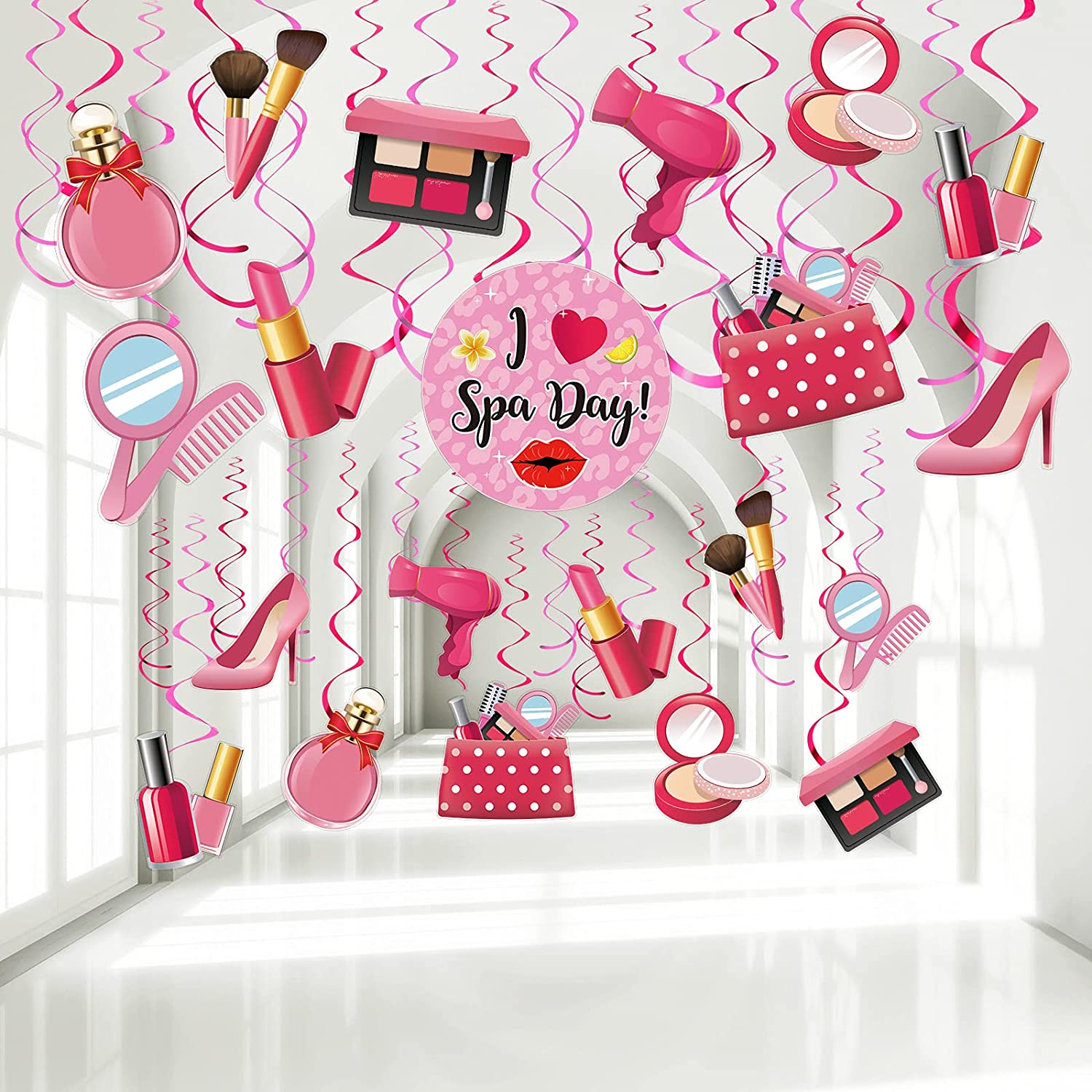 30 Pieces Spa Day Hanging Swirl Decorations, Makeup Party I Love Spa Sign Foil Swirls Ceiling Decor Cutout Card for Girl Women Nail Birthday Theme Party Garden Fairy Party Baby Shower Supplies