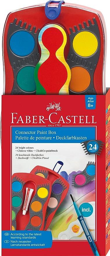Faber-Castell 125029 - Estuche de 24 acuarelas Connector, pincel Clic & Go, multicolor: Amazon.es: Oficina y papelería