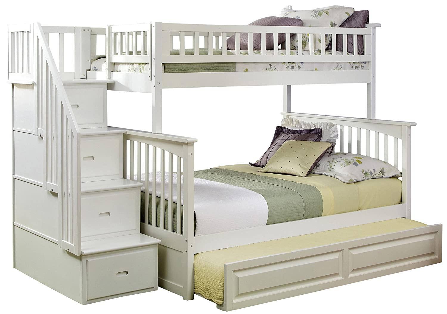 Amazon.com: Atlantic Furniture Columbia Staircase Bunk Bed With Trundle Bed,  Twin Over Full, White: Kitchen U0026 Dining