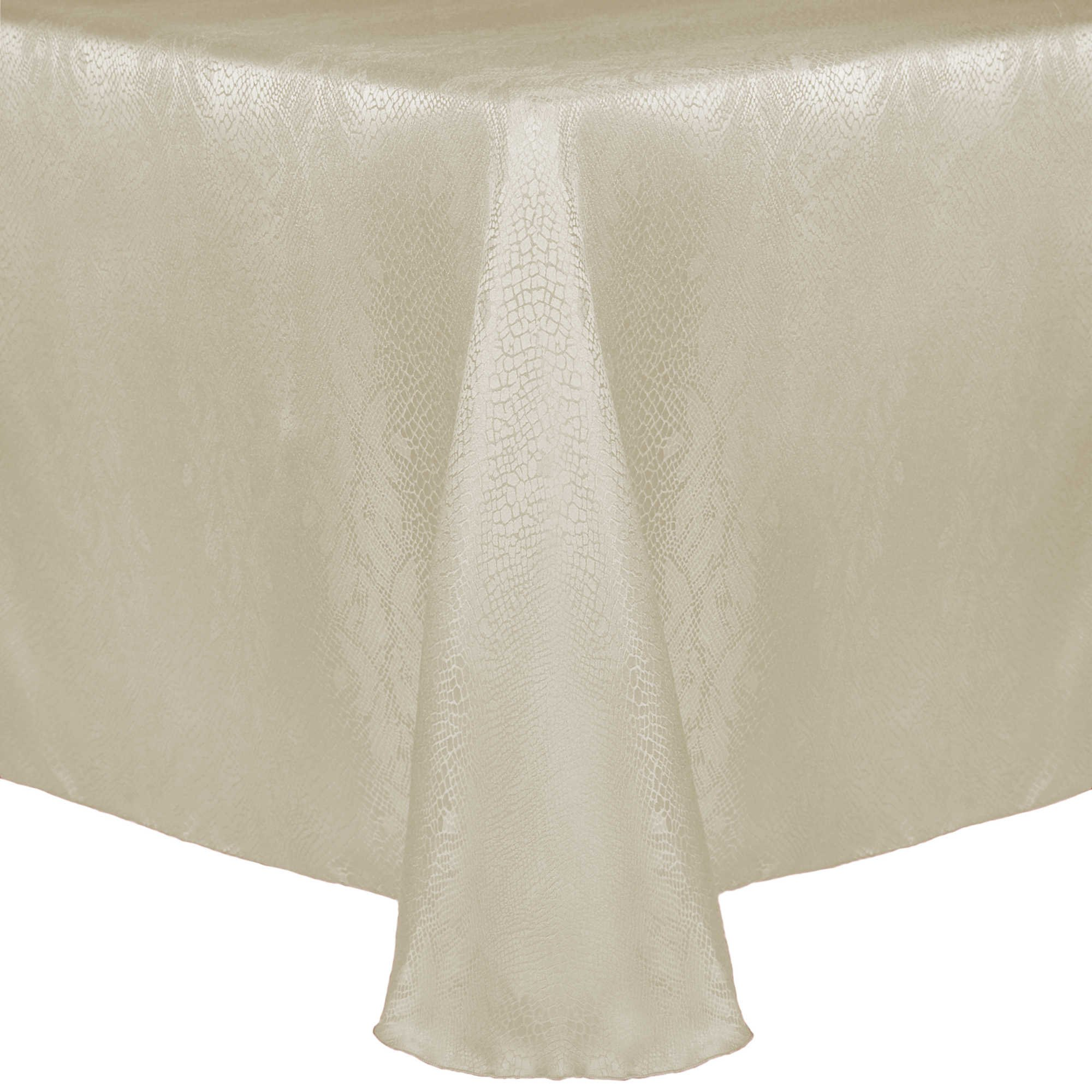 Ultimate Textile (3 Pack) Damask Kenya 70 x 144-Inch Oval Tablecloth - Home Dining Collection - Snakeskin Jacquard Design, Natural Ivory Cream