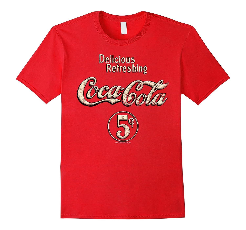 Coca-Cola Vintage Gold Five Cents Logo Graphic T-Shirt-ANZ