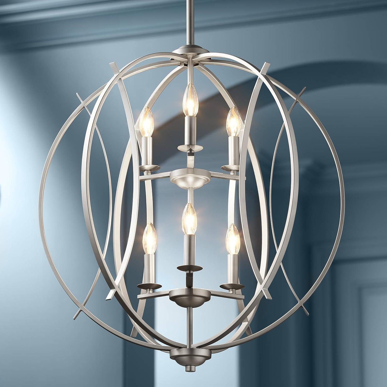 Possini Euro Spherical 24 W Brushed Nickel 6-Light Pendant – Possini Euro Design