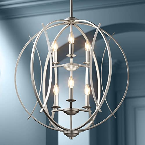 Spherical Brushed Nickel Orb Pendant Chandelier 24 Wide Modern Open Frame 6-Light Fixture for Dining Room House Foyer Kitchen Island Entryway Bedroom Living Room – Possini Euro Design
