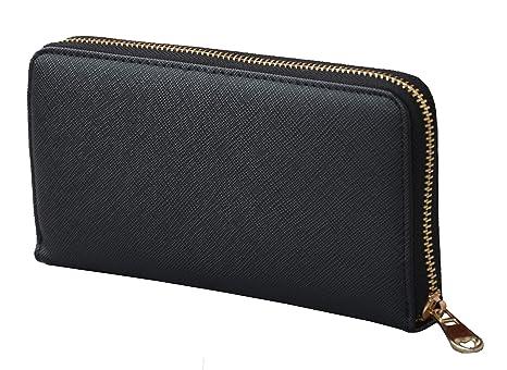 l'ultimo eaf52 0a695 Portafoglio Donna Piccolo Nero, Elegante, Spazioso, Eco Pelle Con cerniera  zip Portamonete